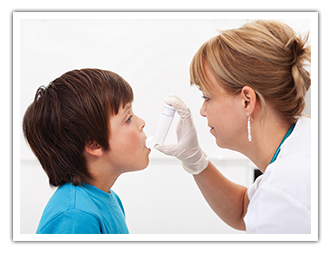 Doctor treating child